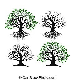 Set of trees on a white background