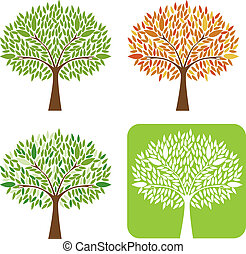 Set of trees Vector Illustration.