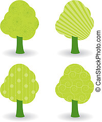 Set of trees with different patterns.