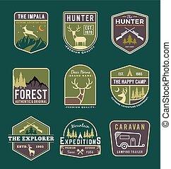 Set of trekking badge, camping, outdoor and adventure gears logo, emblem logo, label design. Vector illustration