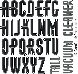 Set of trendy condensed, tall, vector capital, upper case alphabet letters, abc isolated. Funky font for use as business poster design elements. Made with industrial hose, 3d cylinder tube design.