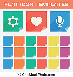 Set Of Trendy Flat App Icon Templates With Different Folded Corners. Vector