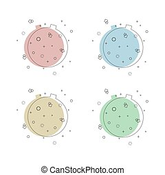 Collection of christmas balls in retro design style.