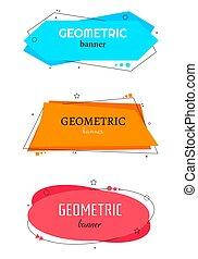 Set of trendy flat geometric vector banners