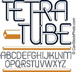 Set of trendy fun vector capital English alphabet letters...