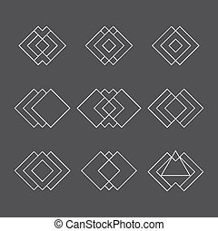 Set of trendy geometric shapes. Ethnic tattoo. Hipster logotypes collection. Sacred geometry vector bundle
