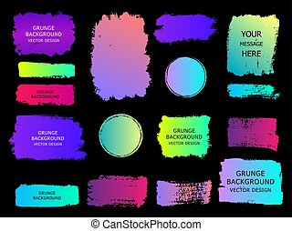 Set of trendy gradient grunge  paint background with frame. Dirty artistic design elements, boxes, frames for text.
