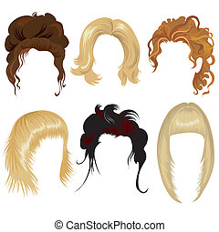 set of trendy hair styling for woman