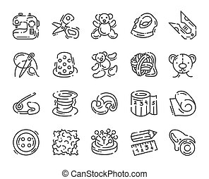 icon about sewing toys and needlework isolated on white