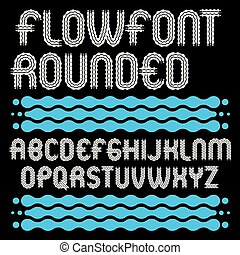 Set of trendy pop vector uppercase English alphabet letters isolated. Rounded bold type font, script from a to z can be used in retro poster design. Created using waves, flowing lines.