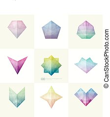 Set of trendy soft mesh facet crystal gem geometric logo icons. Abstract shapes for business visual identity- triangle, polygons