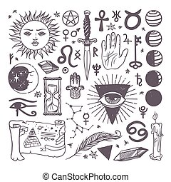 Set of trendy vector esoteric symbols collection sketch hand...