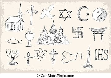 Set of trendy vector religion elements - et for cards,...