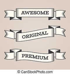 Set of trendy vector vintage retro styled ribbons, banners.