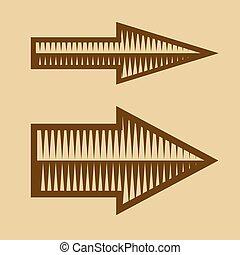 Set of Trendy Vintage Arrows on Old Paper. Vector