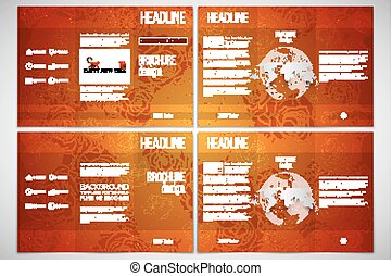 Set of tri-fold brochure template on both sides. Chinese new year background. Floral design with red monkeys, vector illustration