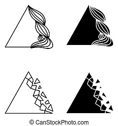 Set of triangle abstract logo elements.