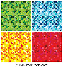set of triangle abstract seamless patterns