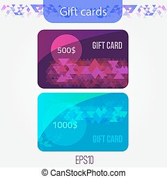 Set of triangle gift cards with Abstract mosaic background