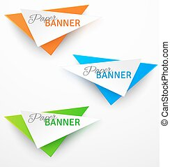 Set of triangular colorful paper origami banners