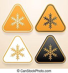 Set of triangular signs of danger