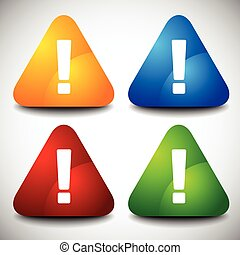 Set of triangular signs with exclamation marks. Vector.
