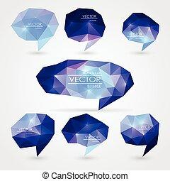 Set of triangular speech bubbles
