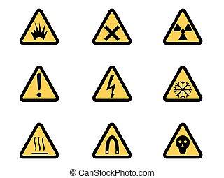 Set of Triangular Warning Hazard Signs