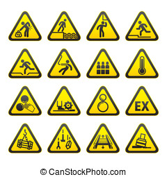 Set of Triangular Warning Hazard  S
