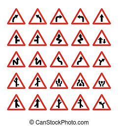 Set of triangular warning signs