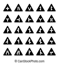 Set of triangular warning signs in black