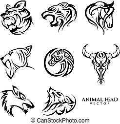 Set of tribal animal head vector icon symbol for element design on the white background