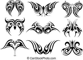 Set of tribal art tattoo