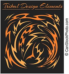 Set of Tribal Elements on a black background