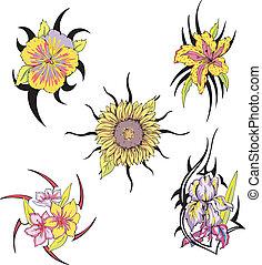 Set of tribal flower tattoos