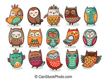 Set of tribal owls - Cute indian hand drawn owl characters....