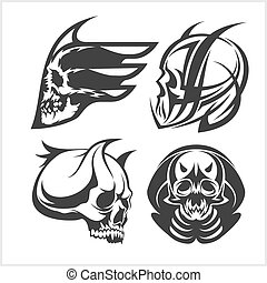 Set of tribal skulls for tattoo. Isolated on white.