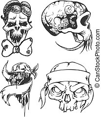 Set of tribal tattoo sketches with skulls