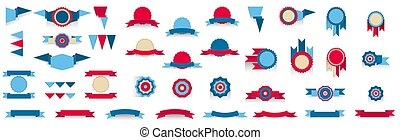 Set of tricolor banners, red, blue, beige