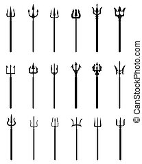 trident, black silhouettes - Set of trident, black...