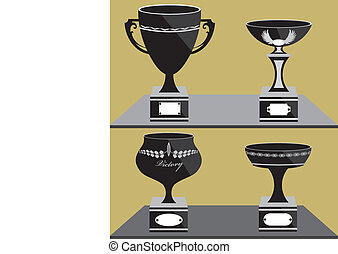 Set of trophies
