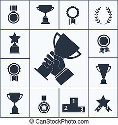 Set of trophy and award icons - Set of black silhouette...