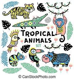 Set of tropical animals