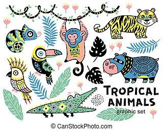 Crocodile and monkey Editable vector silhouettes of a