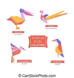 Set of tropical bird  icons.