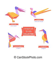 Set of tropical bird  icons.