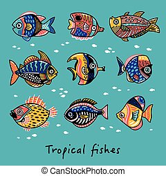 Set of tropical fishes. Vector illustration