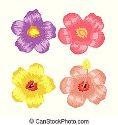 set of tropical flowers plants
