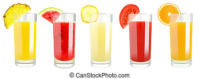 Set of tropical fruit juices in glasses isolated on white background