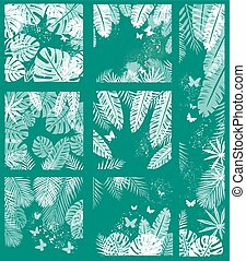 Tropical Leaves on Green Background